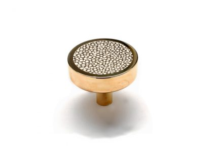 Round Knob with Leather Accent in Polished Unlacquered Brass
