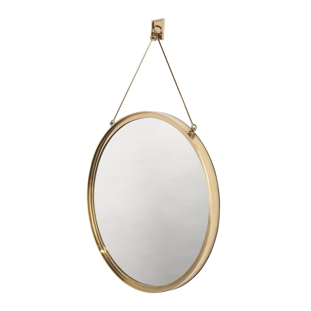 Waterworks Latchet Wall Mounted Round Mirror in Polished Brass