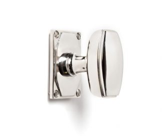 Art Deco Door Knob Set in polished nickel