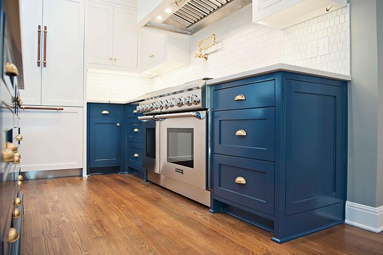 Pemberton Heights, Blue Kitchen Cabinets, Blue Kitchen, Traditional Kitchen, Brass Hardware