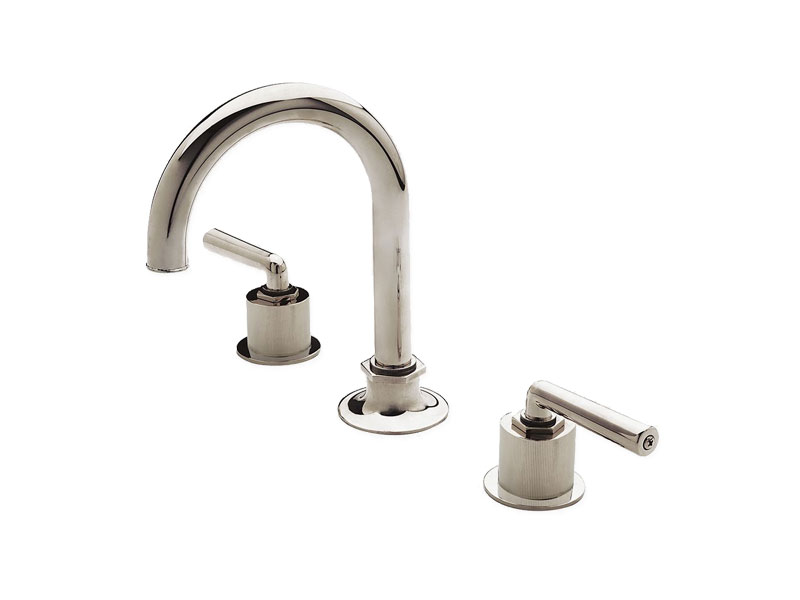 Waterworks Henry Gooseneck Three Hole Deck Mounted Lavatory Faucet