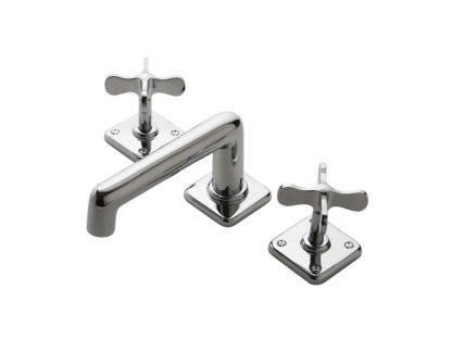Waterworks Ludlow Low Profile Three Hole Deck Mounted Lavatory Faucet with Metal Cross Handles
