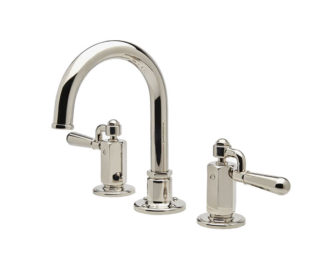 Waterworks Regulator Gooseneck Three Hole Deck Mounted Lavatory Faucet - Metal Drop Lever Handles