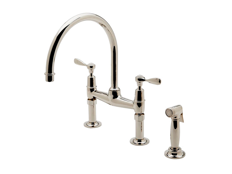 Waterworks Easton Classic Two Hole Bridge Gooseneck Kitchen Faucet, Metal  Lever Handles And Spray,