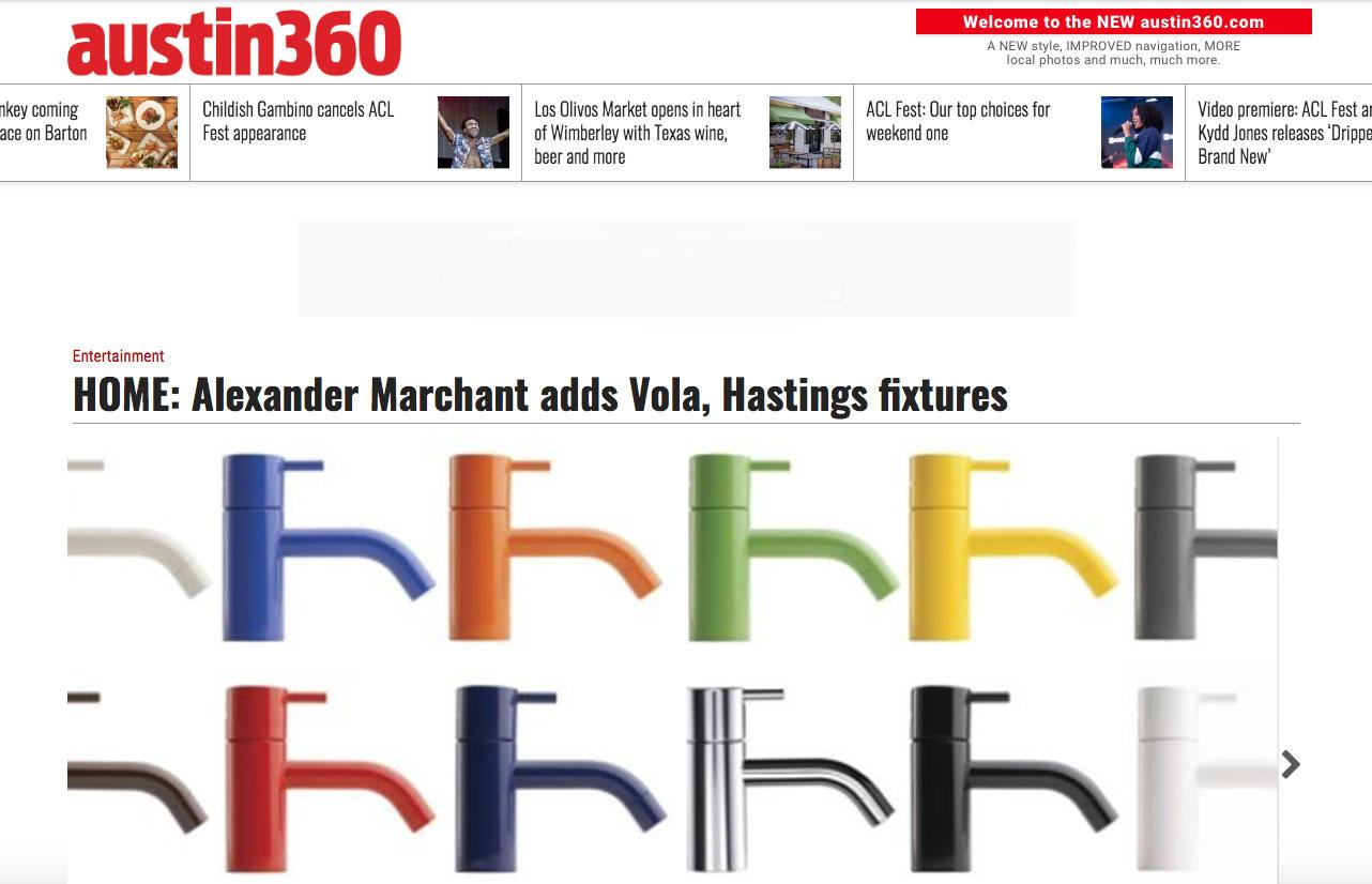 Austin360, Alexander Marchant, Vola Fixtures
