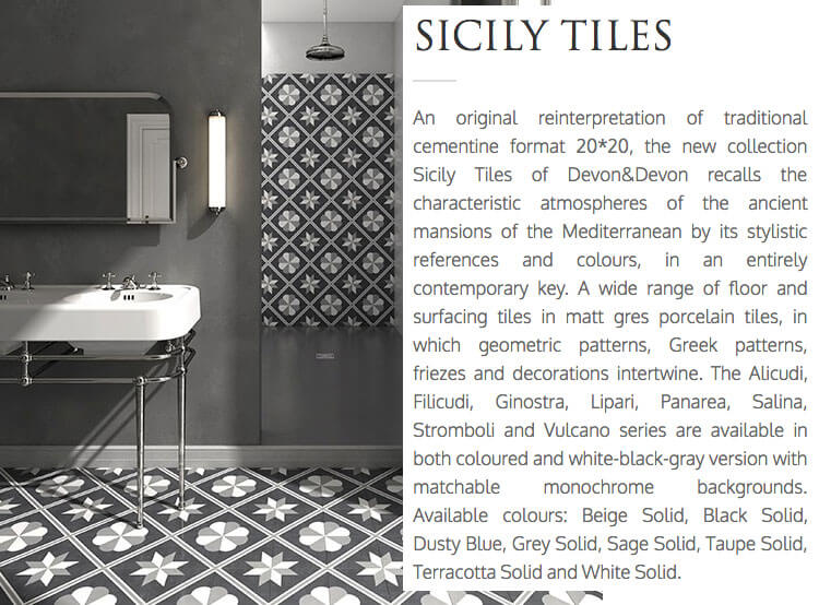Devon&Devon, Sicily Tiles, the complete bathroom, Italian bathroom brand