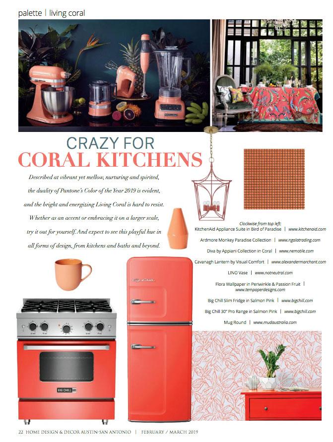Home Design & Decor, Coral Kitchens, Living Coral Design, Visual Comfort, Alexander Marchant, Pink Kitchen