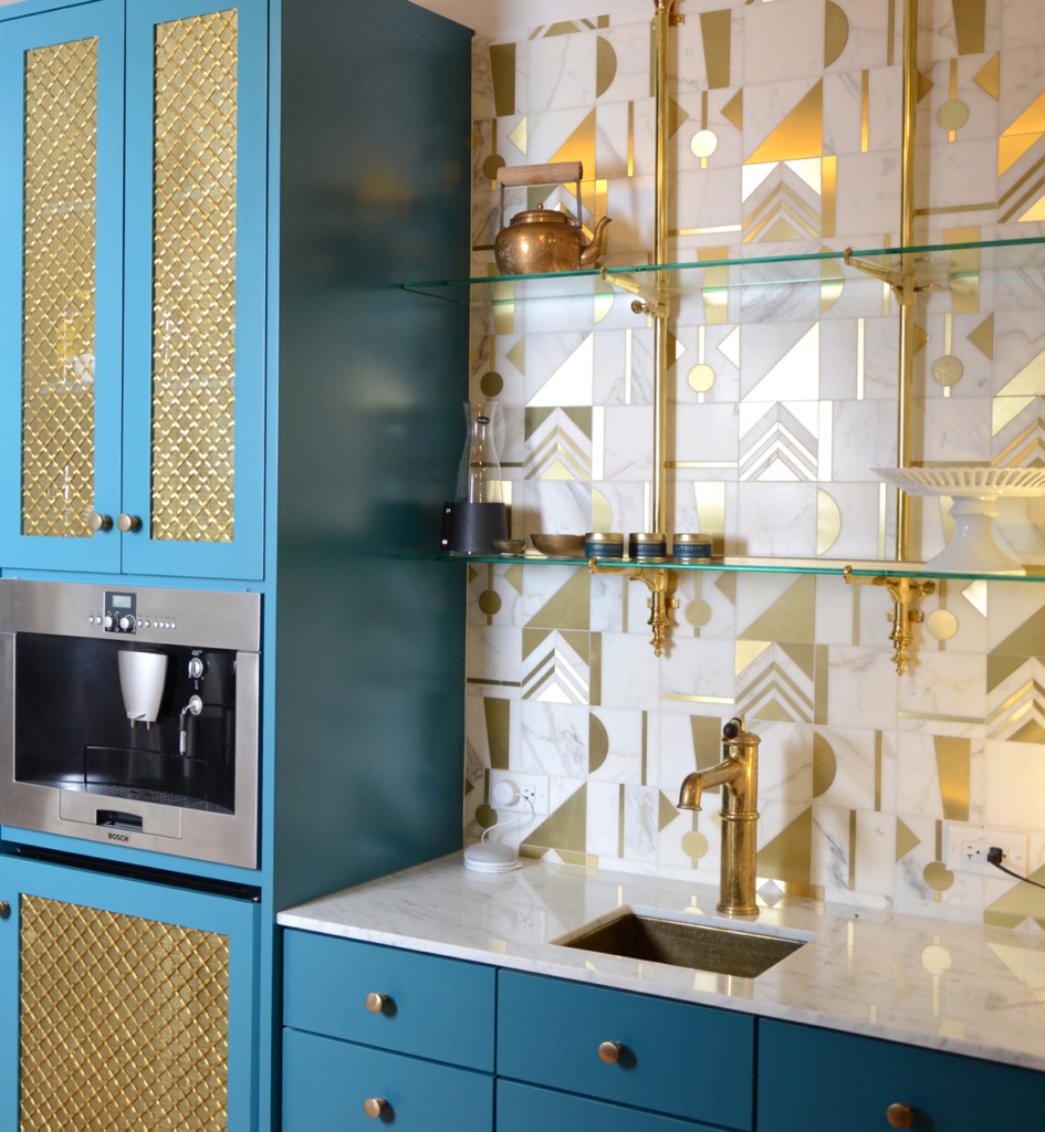 Blue Cabinets in Brentwood Showroom