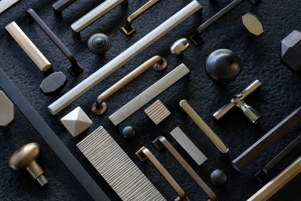 A selection of cabinet hardware illustrates the stylistic breadth of Sun Valley Bronze's collections.