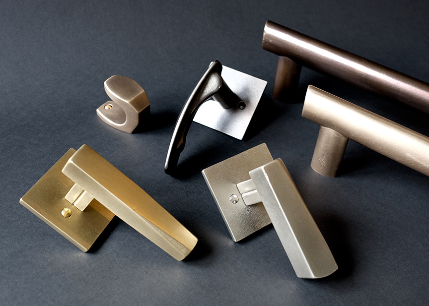 A selection of hardware from the Kyoto Collection Sun Valley Bronze created in collaboration with de Reus Architects.